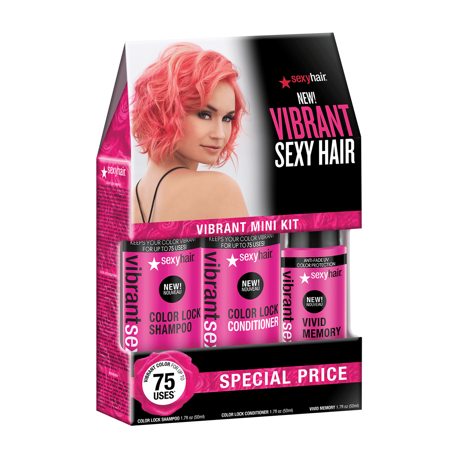 Vibrant Color Lock Mini Shampoo, Conditioner, Blow Dry Spray
