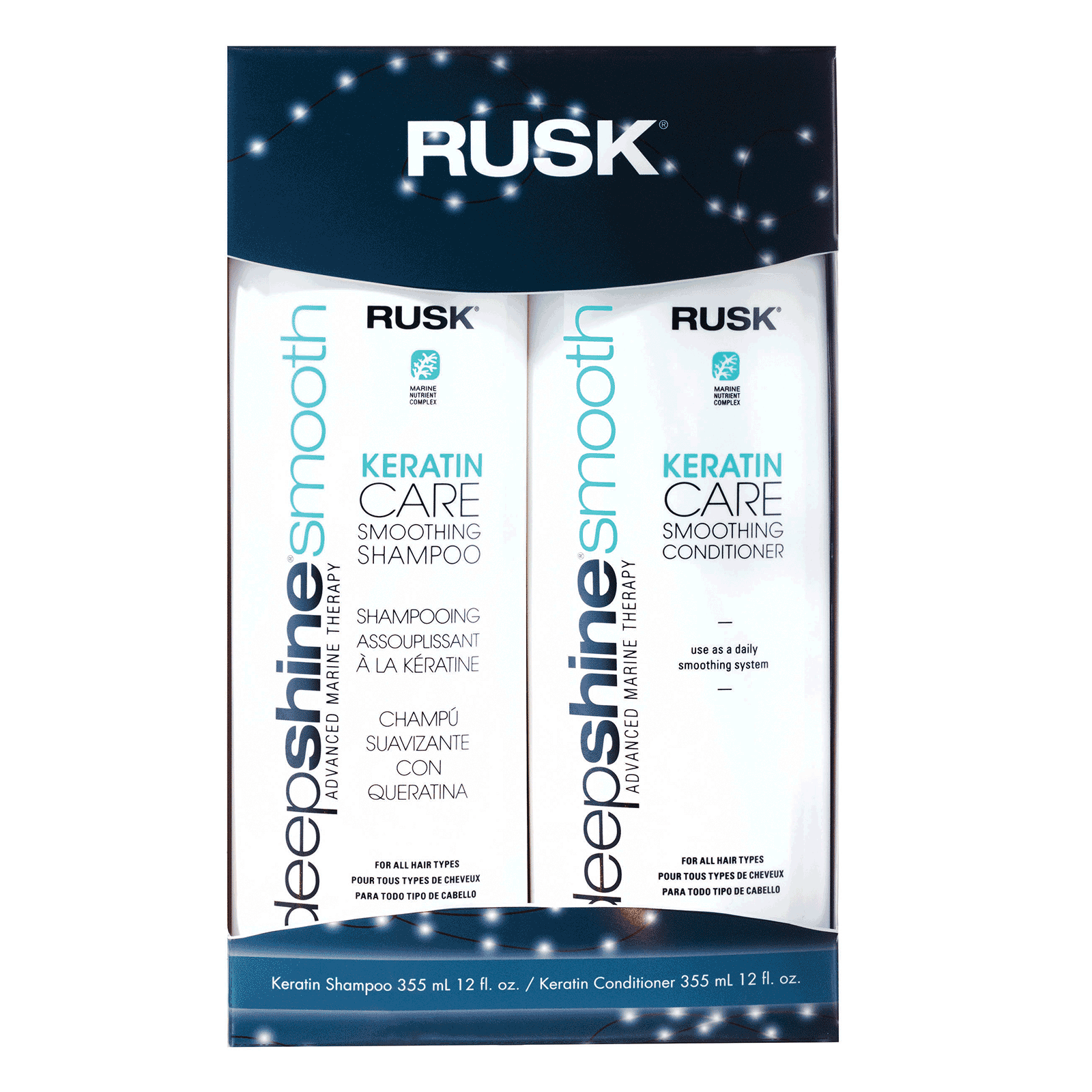 Deepshine Keratin Care Smoothing Shampoo Conditioner Rusk
