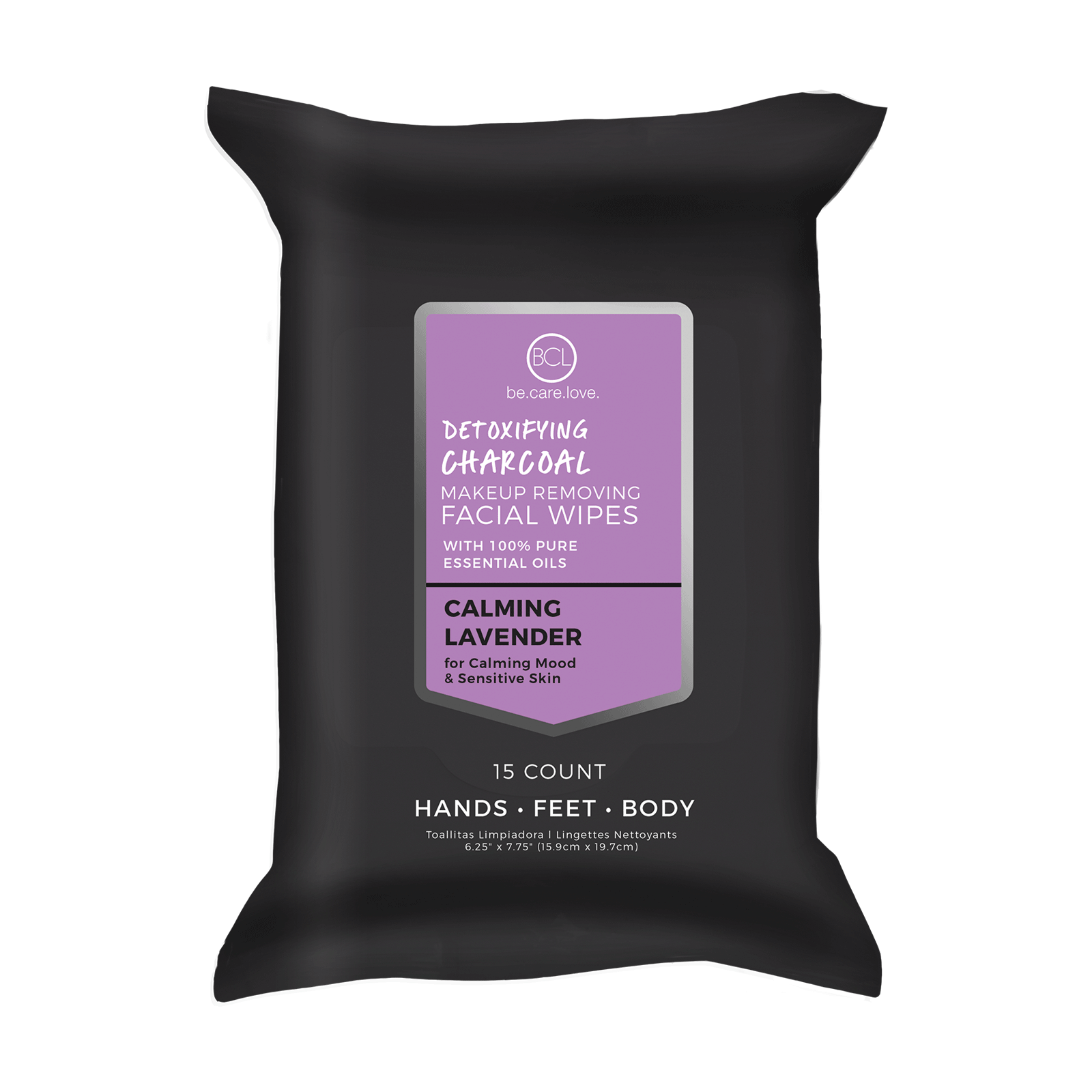 Lavender Charcoal Make-Up Removing Facial Wipes - 15 Count