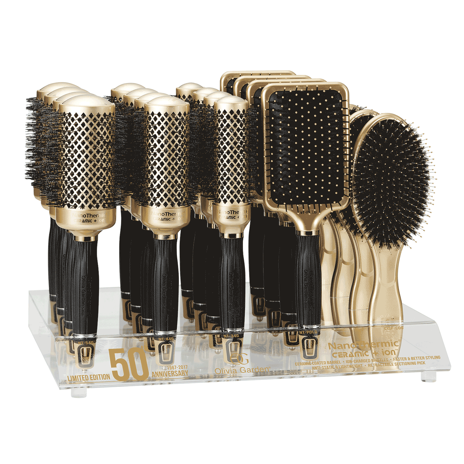 50th anniversary brush collection 15 count display - Olivia Garden