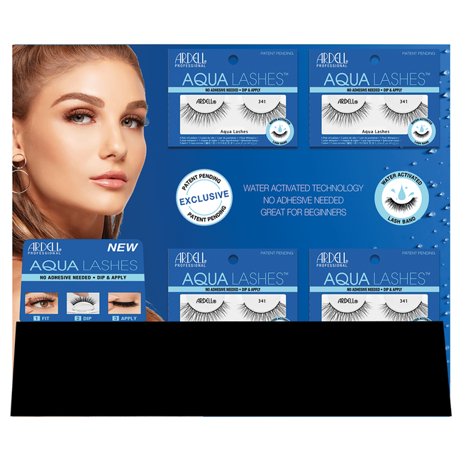 Aqua Water Activated Strip Lashes - 16 Piece Display