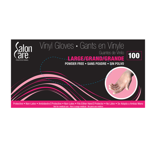 Salon Care Clear Vinyl Powder-Free Large Gloves 100-Count