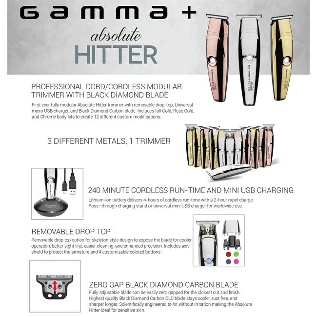 Gamma+ Absolute Hitter Matte Cordless Trimmer