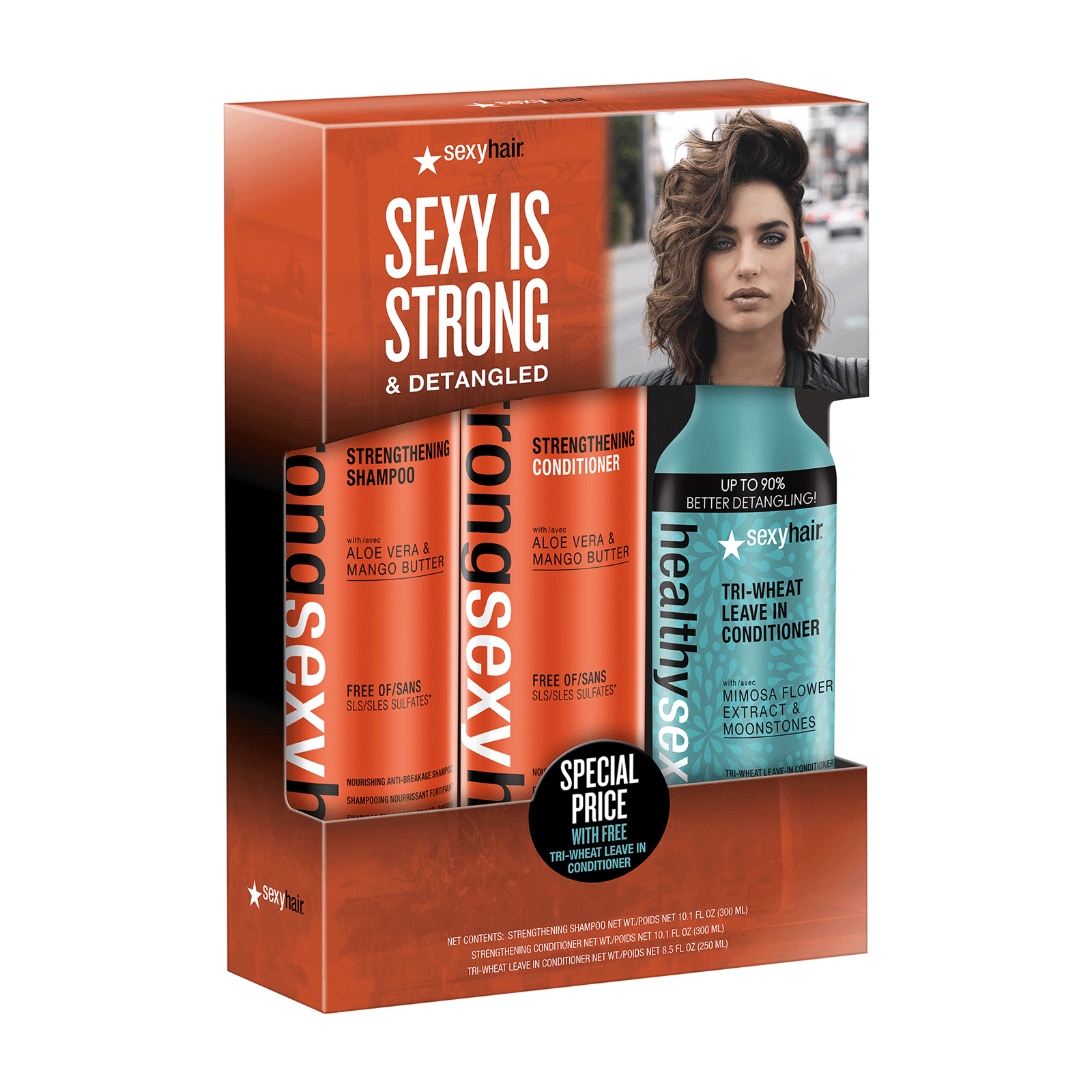 Strong Sexy Hair Shampoo, Conditioner, Triple-Wheat Leave-In