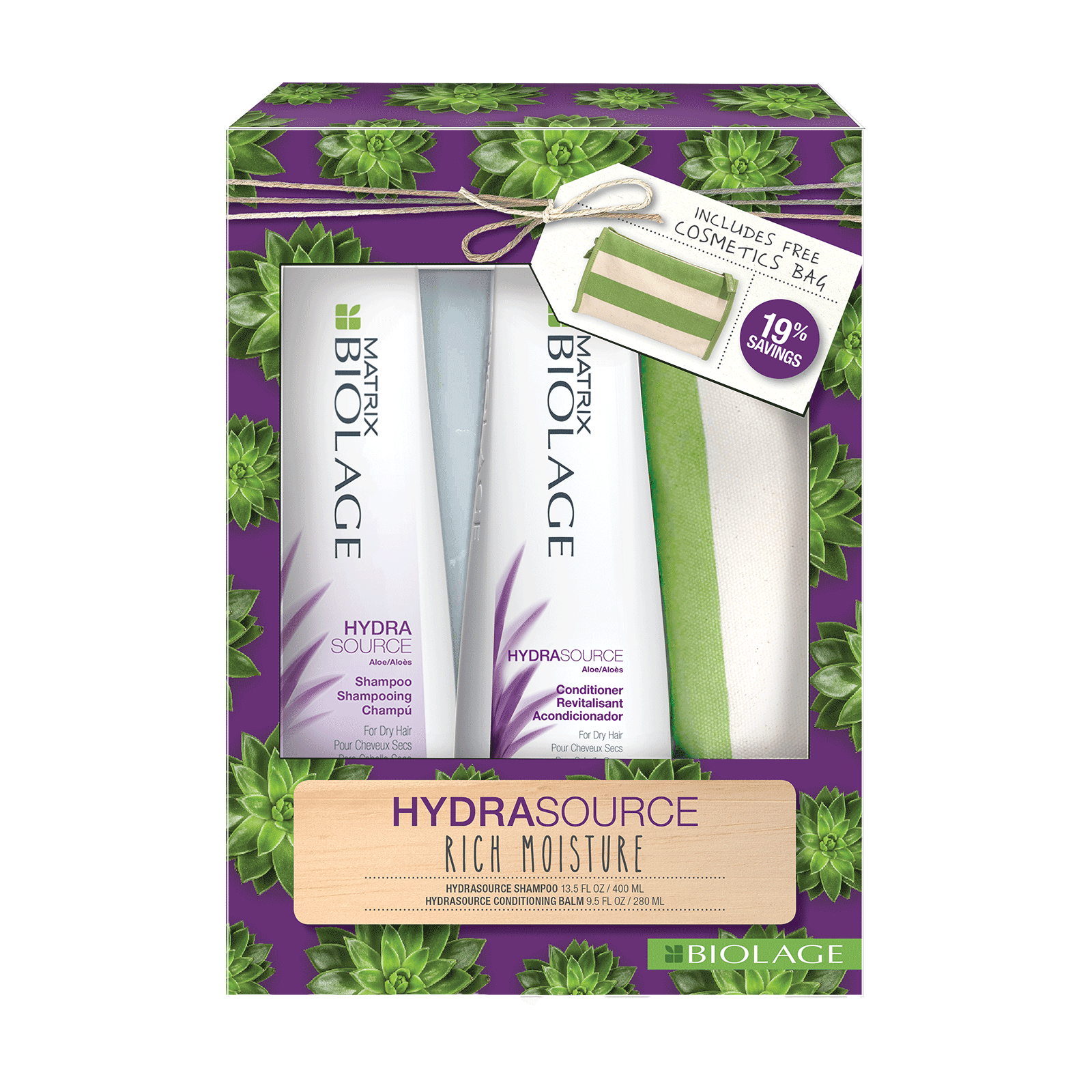 Biolage HydraSource Shampoo, Conditioner with Travel Bag