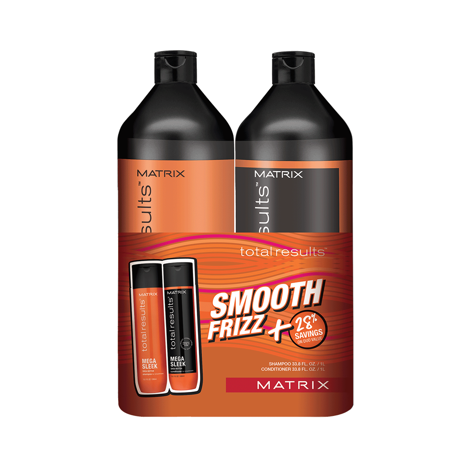 Total Results Mega Sleek Shampoo, Conditioner Liter Duo