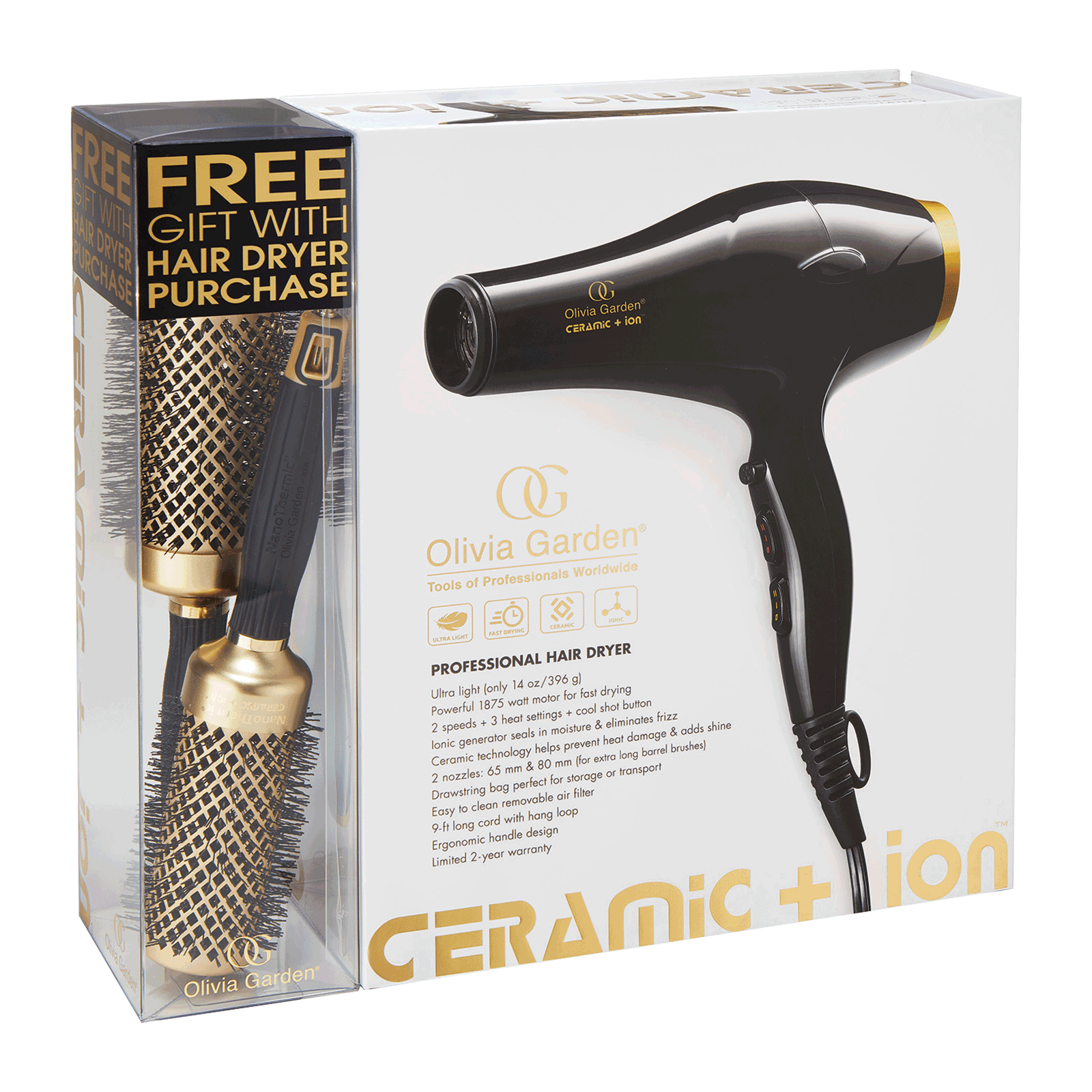 Ceramic+Ion Professional Hair Dryer, 2 Nano-Thermic Brushes