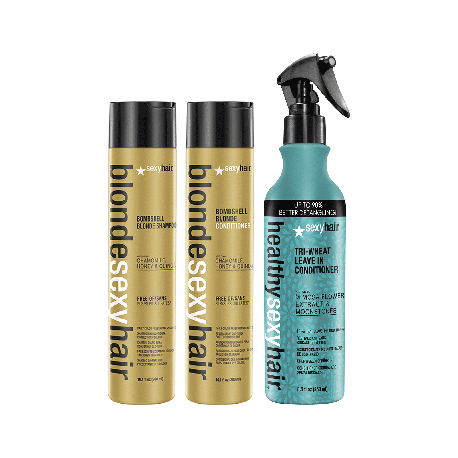 Blonde Sexy Hair Shampoo, Conditioner, Trio-Wheat Leave-In