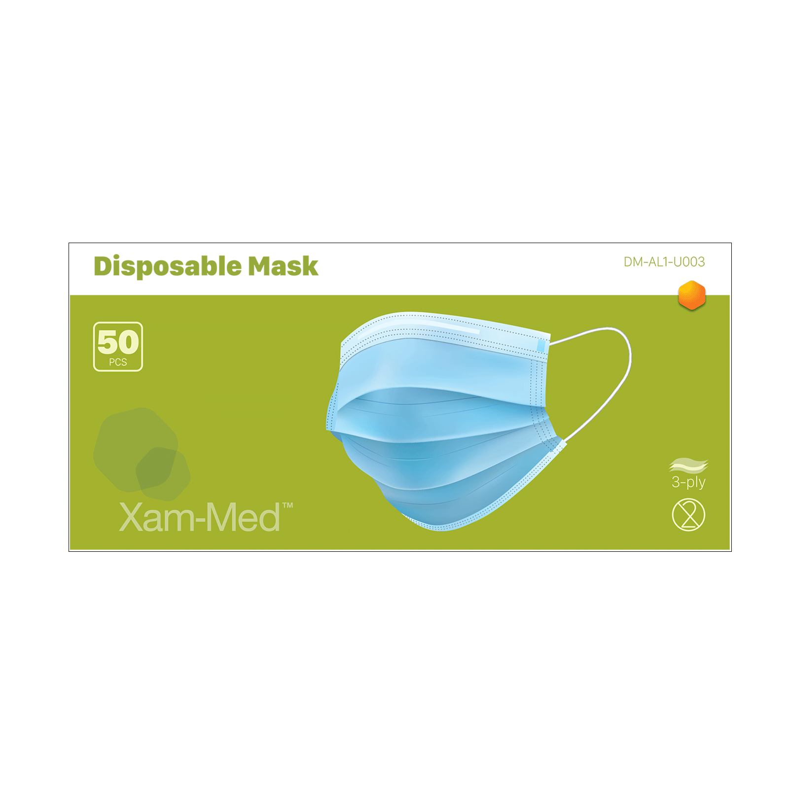 3-Ply Disposable Face Mask 50-Count