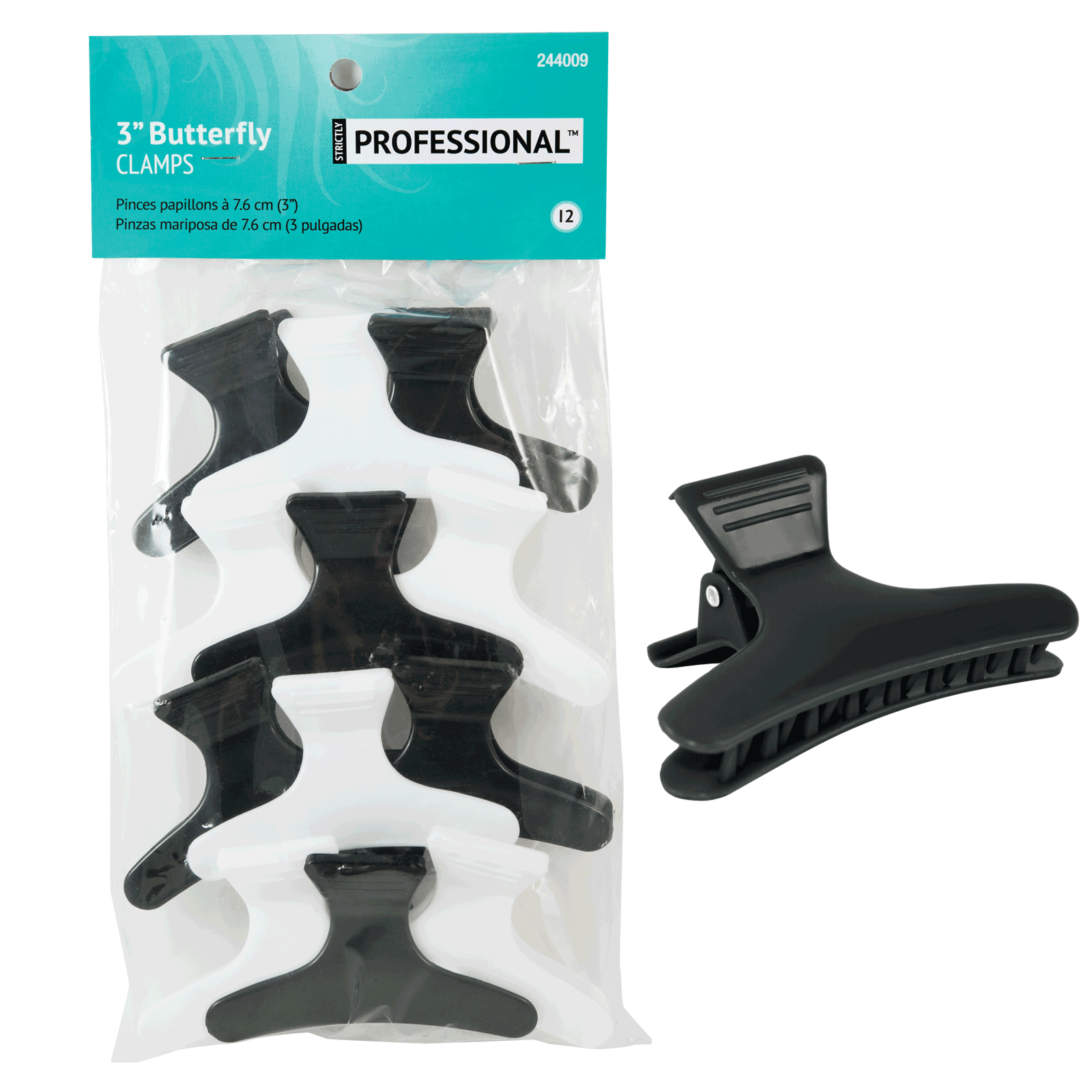 Butterfly Clamp Black/White 3 Inch