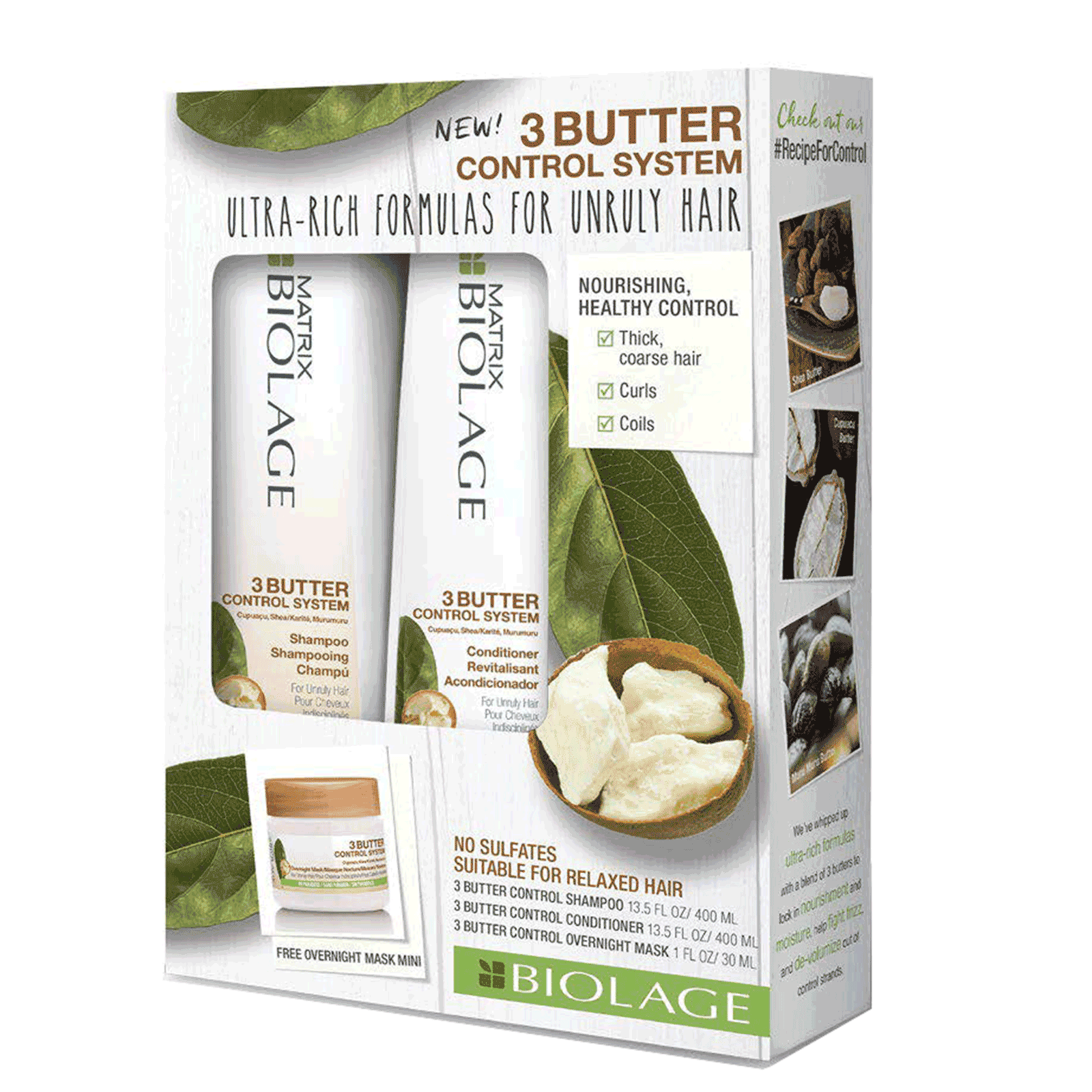 Biolage - 3Butter Control System Shampoo & Conditioner+Mask