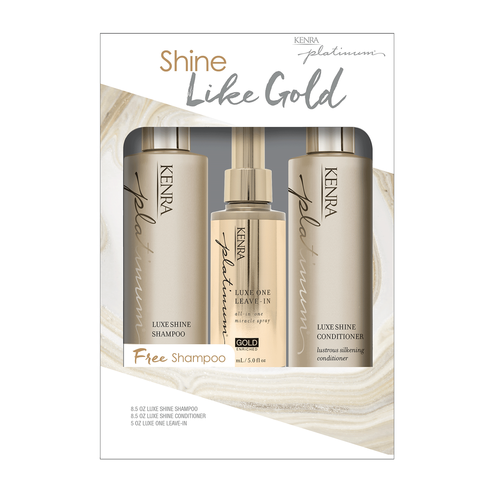 Luxe Shine Shampoo, Conditioner, Leave-In Spray